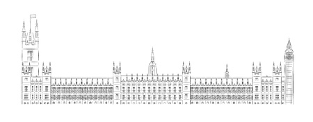 houses of parliament london: Big Ben and House of Parliament vector illustration Illustration