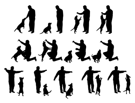 man playing with a dog vector silhouettes, black and white Vector