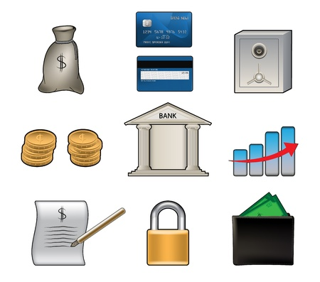 Set of various colorful bank vector icons  Vector