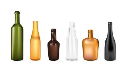 botella de whisky: Seto de botellas de vectores de colores, formas y colores Vectores
