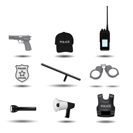 police equipment: Police and law enforcement grayscale vector icons
