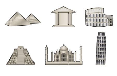 World famous landmark and monuments vector illustration Vector