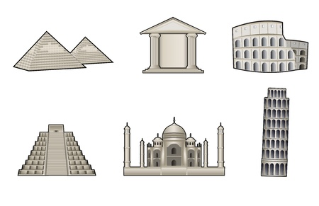 roman empire: World famous landmark and monuments vector illustration