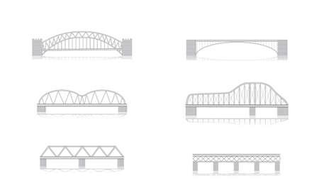 em tons de cinza: v�rias ilustra��es em tons de cinza ponte vetor com sombras