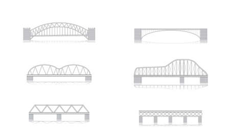grayscale: various bridge grayscale vector illustrations with shadows Illustration