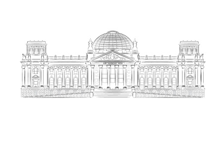 arhitecture: Reichstag building stylized illustration in vector format