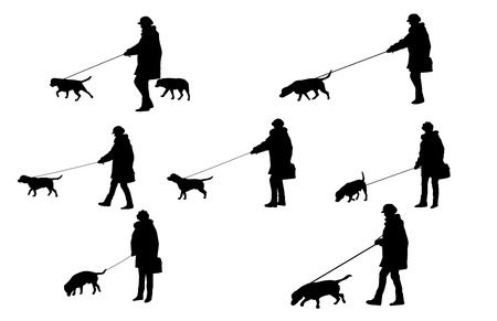 girl with a dog silhouettes in format Vector
