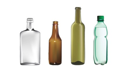 vector illustrations of various style bottles,plastic and glass