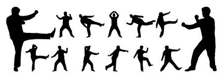 kyokushin: black and white martial arts vector silhouettes