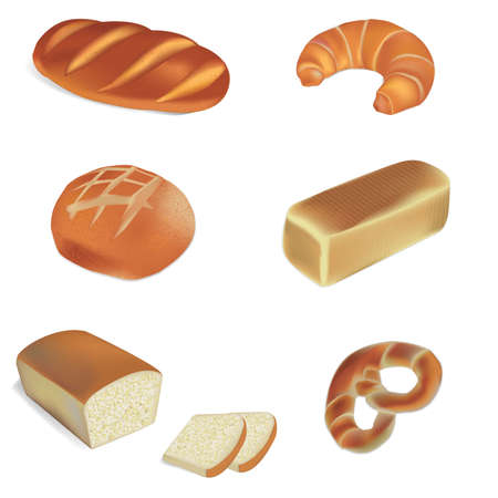 various breads and bakery products vector illustrations Illustration