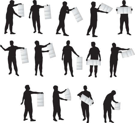 tourist information: SIlhouette of man holding a map like poster, vector format Illustration