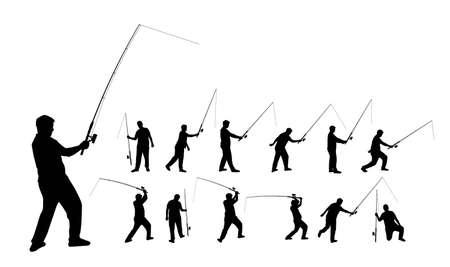 hombre pescando: Varias siluetas de una pesca persona con una varilla, en formato vectorial Vectores