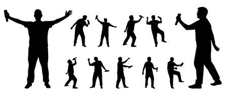 letras musicales: Hombre que sostiene el micrófono y cantar siluetas en formato vectorial