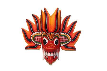 tribu: colorida m�scara africana espiritual aislado en blanco  Foto de archivo