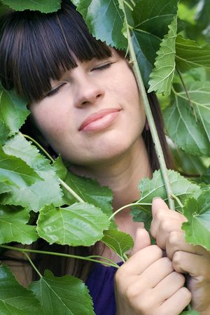 blindly: The girl in foliage blindly