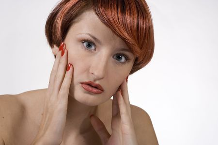 Emotional red woman with studio Stock Photo - 636262