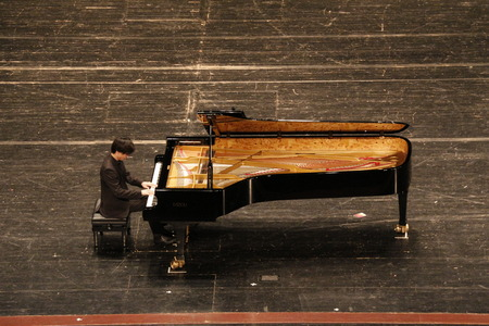 performance of pianist at the stage