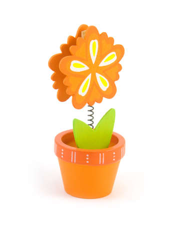Toy on a spring flower in a pot on a white background
