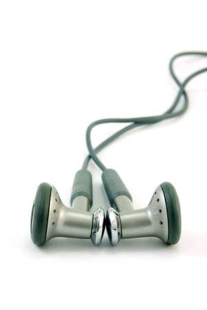 Dark gray headphones isolated on white vertical frame