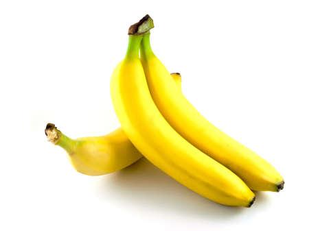 Three yellow banana isolated on a white background Stock Photo
