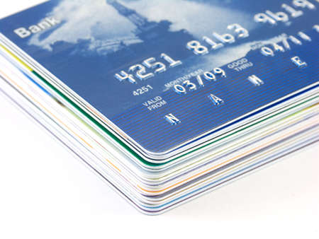 pack of credit cards isolated on a white background Stock Photo