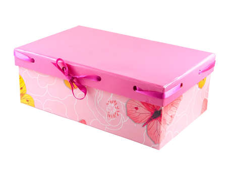 Pink gift box with a yellow butterfly and ribbon isolated on white