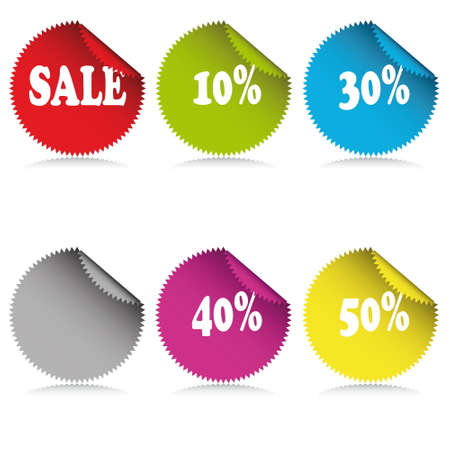 glossy sale tag stickers with discount and reflection