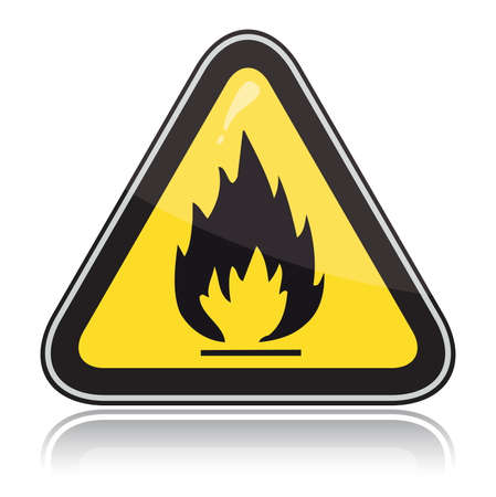 flammable warning: Yellow triangular warning sign. Attention flammable