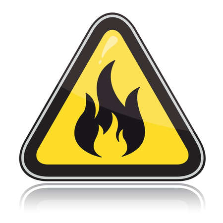 triangular warning sign: Yellow triangular warning sign. Attention flammable