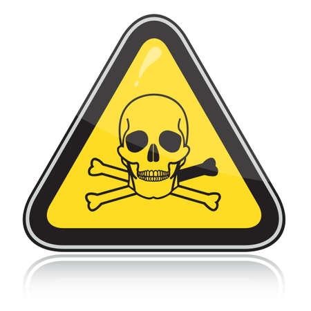 hazardous area sign: Signo de advertencia triangular amarillo con un cr�neo. Atenci�n t�xico, veneno.  Vectores