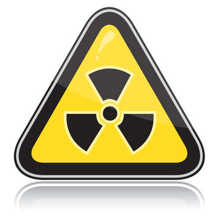 Yellow triangular warning sign of radiation hazards. Stock Vector - 6245705