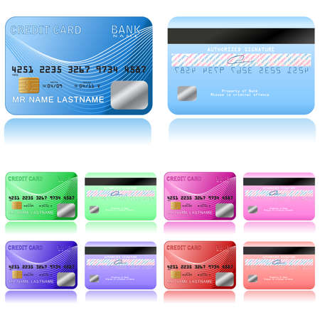Credit cards on a white background, illustration. Vector