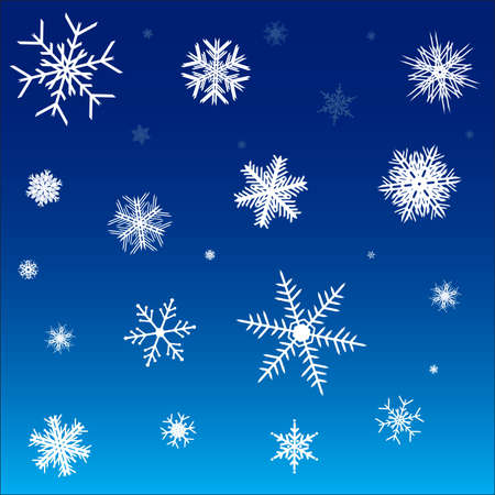 White snowflakes on a blue background.  illustration. Stock Vector - 6245703