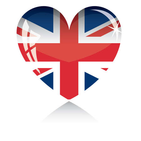 Vector heart with Britan flag texture isolated on a white background. Illustration