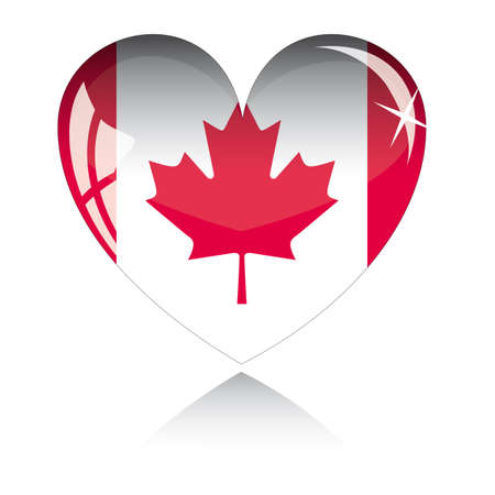 heart with Canada flag texture isolated on a white background. Vector