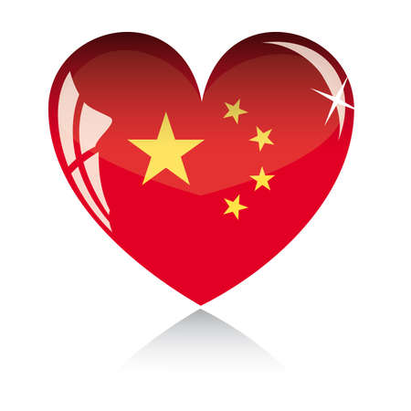 heart with China flag texture isolated on a white background. Stock Vector - 6245713