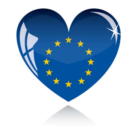 heart with Europe flag texture isolated on a white background. Stock Vector - 6245718