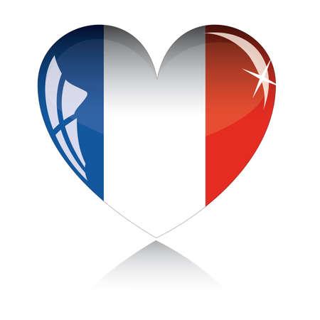 bandera francia: coraz�n con textura de bandera de Francia aislado en un fondo blanco.
