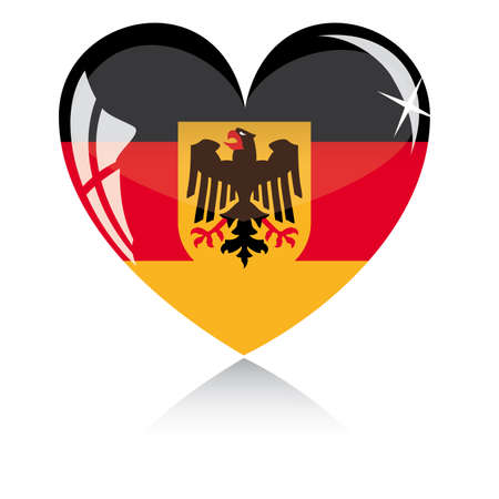 heart with Germany flag texture isolated on a white background. Illustration