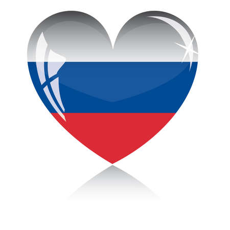 heart with Russia flag texture isolated on a white background.