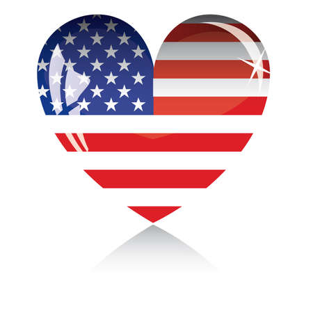 president of usa: Heart with US flag texture isolated on a white background.