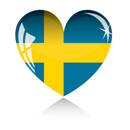 heart with Sweden flag texture isolated on a white background. Vector
