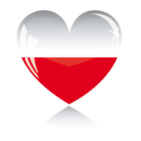 heart with Poland flag texture isolated on a white background. Vector