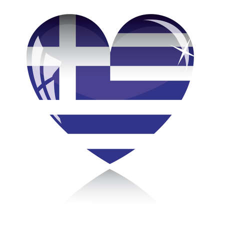 heart with Greece flag texture isolated on a white background.