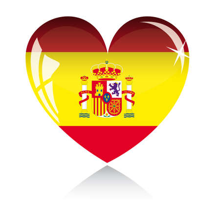 spanish flag:  heart with Spain flag texture isolated on a white background.
