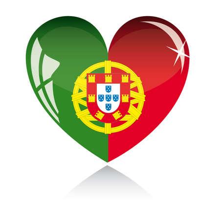 bandera de portugal: coraz�n con textura de bandera de Portugal aislado en un fondo blanco.  Vectores