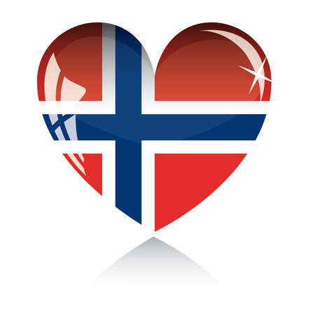 heart with Norwey flag texture isolated on a white background. Stock Vector - 6245788