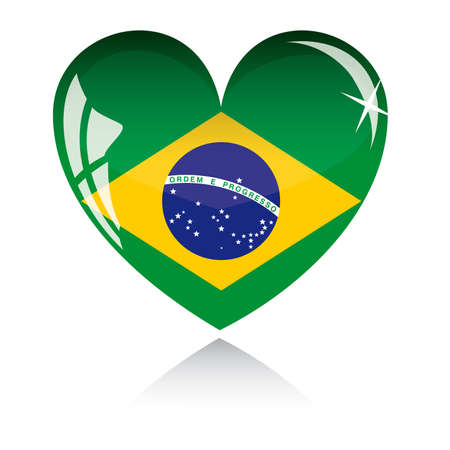 heart with Brazil flag texture isolated on a white background.