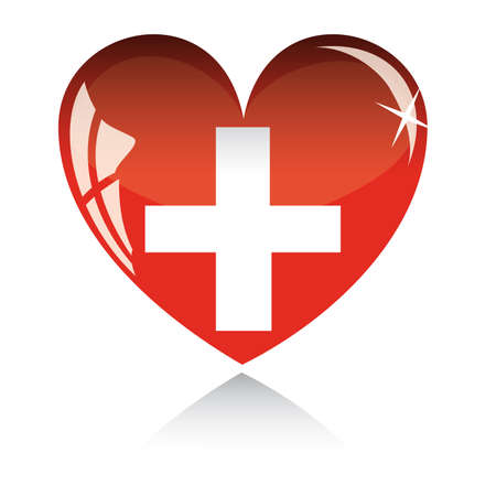 heart with Switzerland flag texture isolated on a white background. Illustration