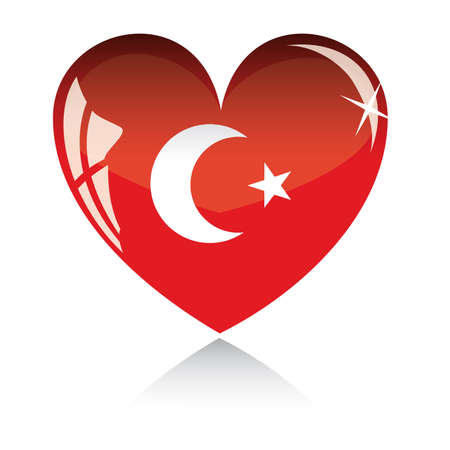 Vector heart with Turkey flag texture isolated on a white background.